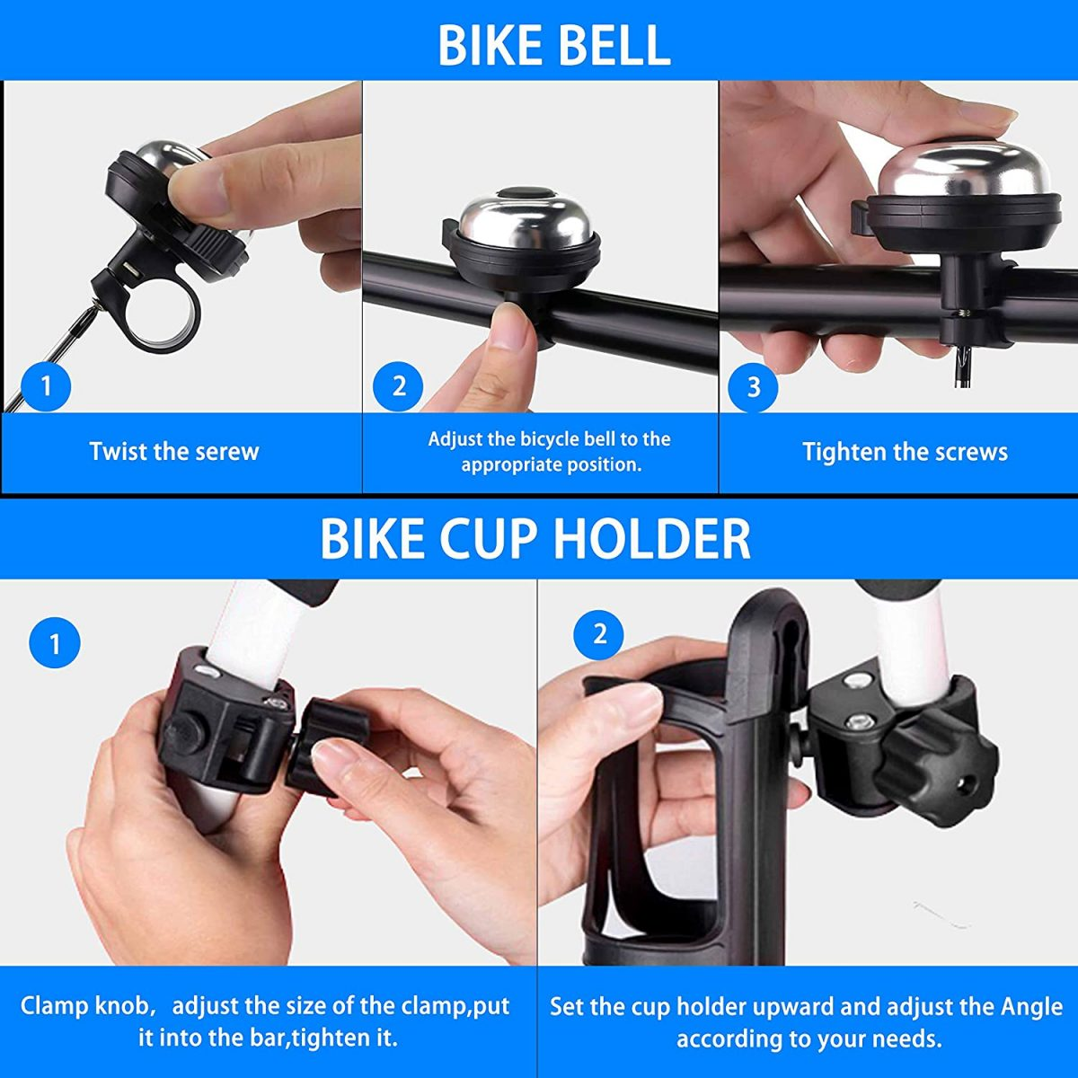 Bicycle Bell Bike Accessories Silicone Phone Holder Secure 3 Pack Bike Water Bottle Holder 360/° Cup Holder Bottle Cage for Bike Motorcycle Stroller Phone Mount Any Smart Phone Aluminum Bike Bell